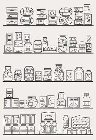 store shelves with goods Stock Illustratie