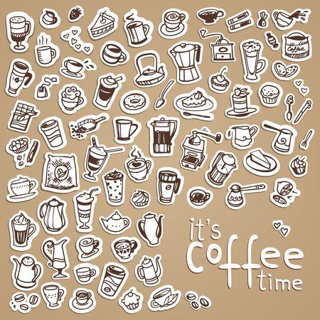 turkish dessert: vector doodle coffee icons