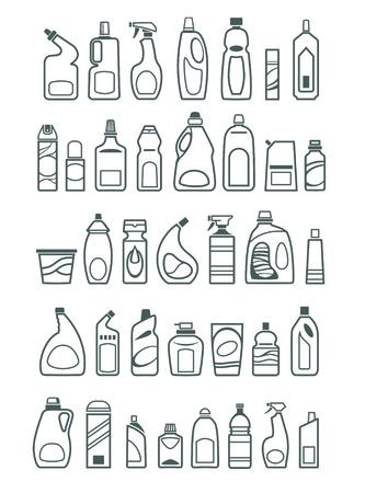 detersivi: Icone prodotti chimici per la casa Vettoriali