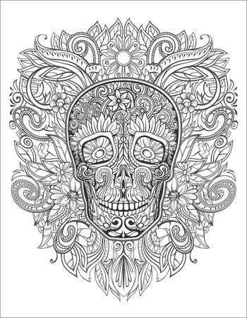 calavera caricatura: cr�neo humano hecho de flores,