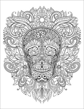 menselijke schedel gemaakt van bloemen,