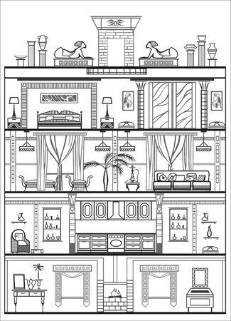 luxury hotel room: interior silhouette. Vector illustration