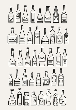 whie wine: alcohol, drinks, beverage icons Illustration