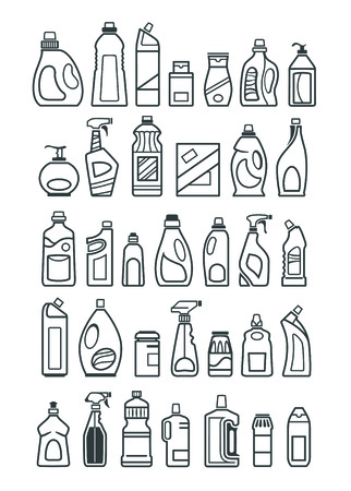 cleaning background: household chemicals icons