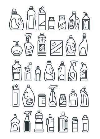 Huishoudelijke chemicaliën pictogrammen Stockfoto - 37421533