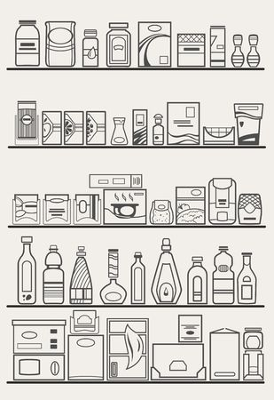 food and drinks: store shelves with goods Illustration
