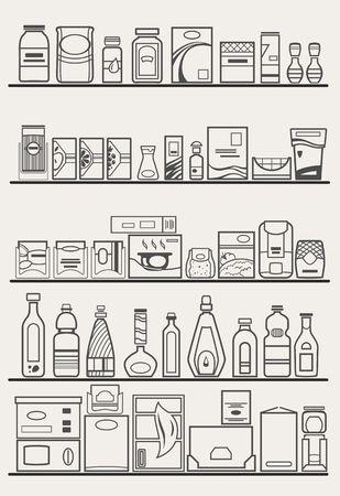 dinner food: store shelves with goods Illustration