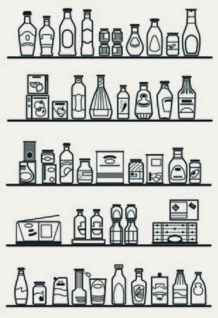 pantry: store shelves with goods Illustration