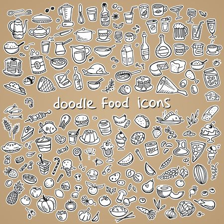 food icons, drawn by hand, vector illustration