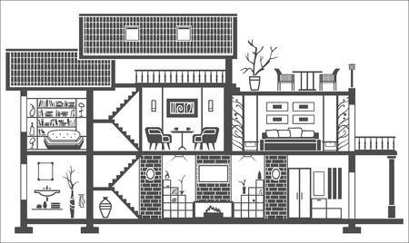 huis interieur silhouet met meubilair. Vector illustratie Stock Illustratie