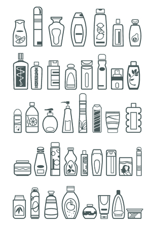 personal care: different cosmetic products for personal care, vector illustration