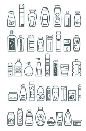 Diversi prodotti cosmetici per la cura della persona, illustrazione vettoriale Archivio Fotografico - 37763600