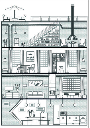 house interior in loft style silhouette. Vector illustration Vector