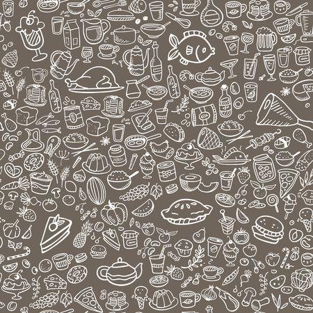 doodle food icons seamless background, vector illustration  イラスト・ベクター素材