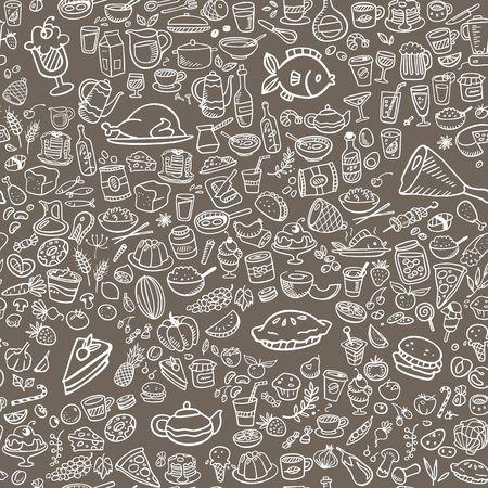 doodle voedsel pictogrammen naadloze achtergrond, vector illustratie Stock Illustratie