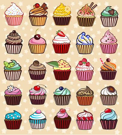 cupcakes isolated: different colorful delicious cupcakes