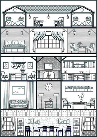 row of houses: house interior silhouette. Vector illustration