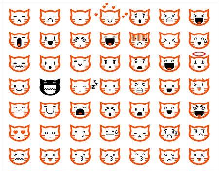 gato caricatura: Iconos del vector de los smiley caras de gato