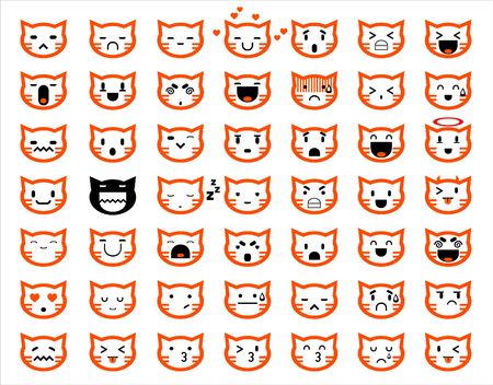 smiling cat: Vector icons of smiley cat faces