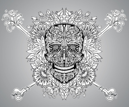 all saint day: human skull made of flowers