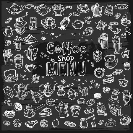 hand getekende koffie set