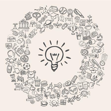 educação: ícones da instrução do doodle Ilustração