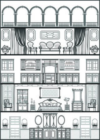 row houses: house interior silhouette. Vector illustration
