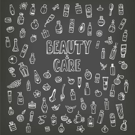 autocuidado: cosméticos e iconos del doodle de autocuidado en la pizarra