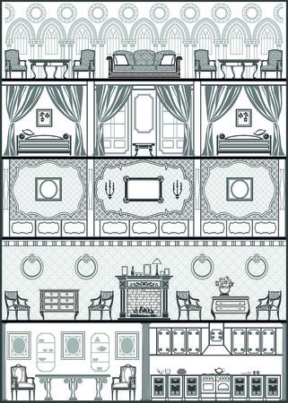 proprietor: house interior silhouette. Vector illustration