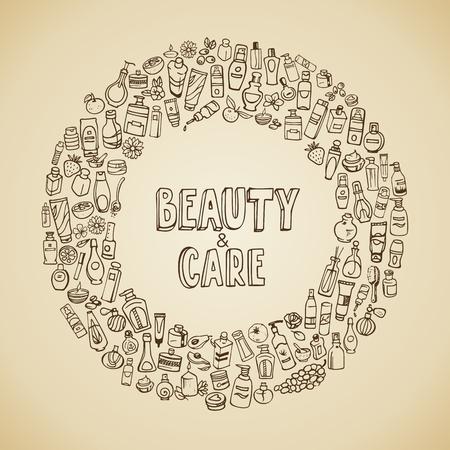 autocuidado: cosméticos e iconos del doodle de autocuidado Vectores