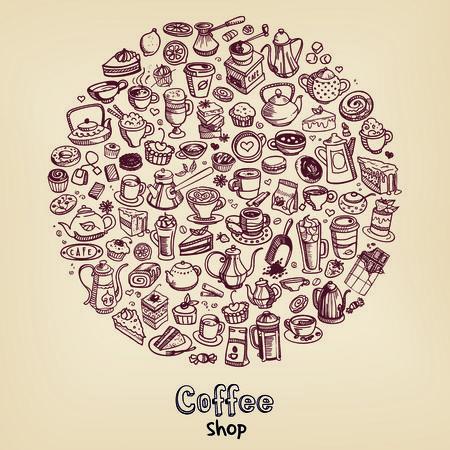 fond caf�: arri�re-plan de caf� dessin� � la main