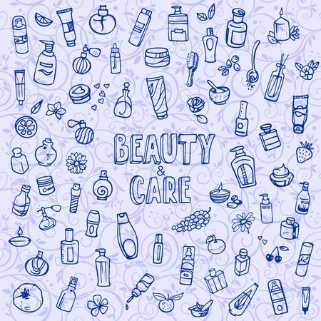 cosmeticos: cosméticos e iconos del doodle de autocuidado Vectores