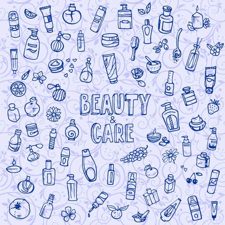 natural cosmetics: doodle cosmetics and self-care icons
