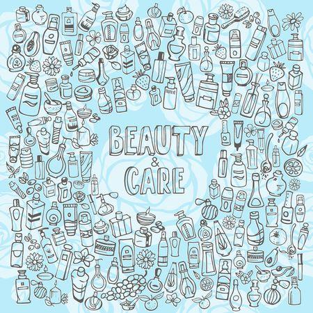 autocuidado: cosm�ticos e iconos del doodle de autocuidado Vectores