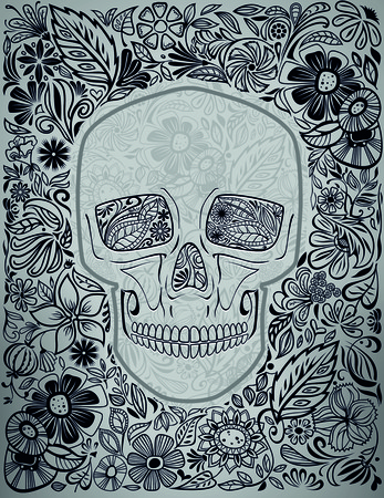 sugar skull: human skull made of flowers vector illustration Illustration