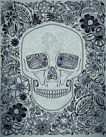 sugar skull: human skull made of flowers vector illustration Illustration