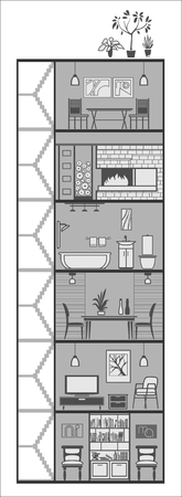 house interior in manimalistic style silhouette. Vector illustration Vector