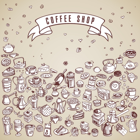 spice cake: hand drawn coffee and confectionery elements vector illustration Illustration