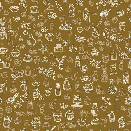 health resort: doodle spa elements seamless background vector illustration Illustration