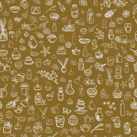 doodle spa elements seamless background vector illustration Illustration