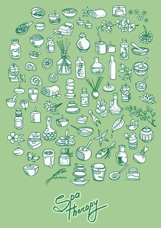 self care: spa and self care doodle design elements set