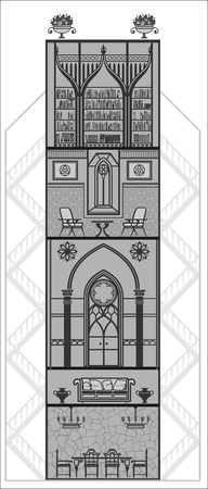 gothic style: house interior in gothic style silhouette. Vector illustration