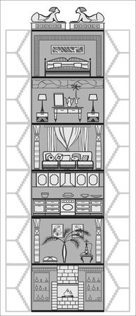 luxury hotel room: house or hotel interior silhouette