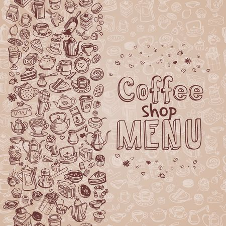 hand shovel: hand drawn coffee background