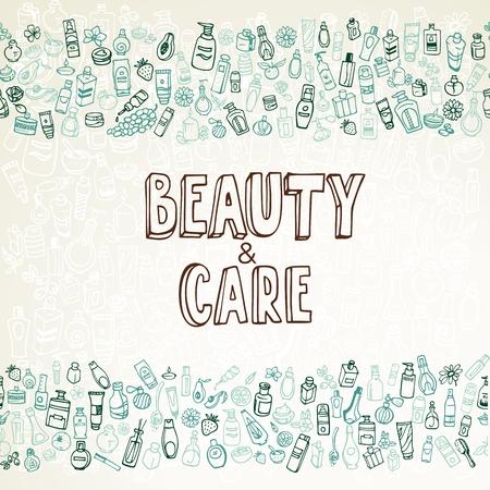 autocuidado: cosméticos doodle del fondo y autocuidado