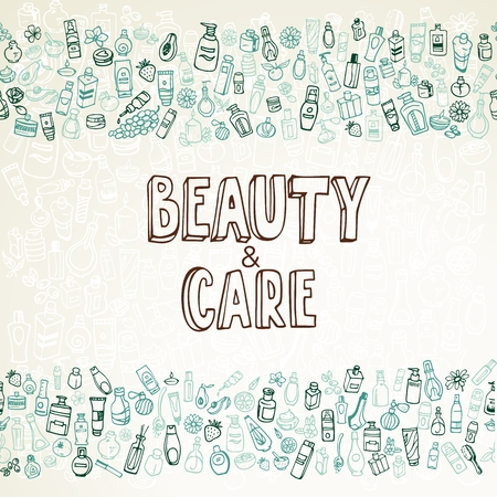 doodle cosmetics and self-care background Illustration