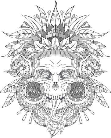 Aztec indian Skull Illustration