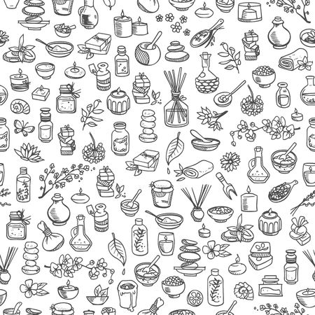 spa still life: doodle spa elements, seamless background Illustration