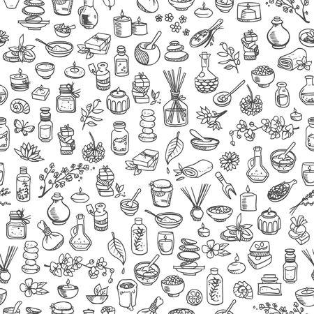 health resort: doodle spa elements, seamless background Illustration