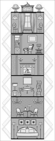 house interior silhouette. Vector illustration Vector